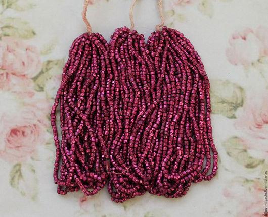 Для украшений ручной работы. Ярмарка Мастеров - ручная работа. Купить Антикварный коллекционный бисер металлик, граненый, цвет розовый. Handmade.