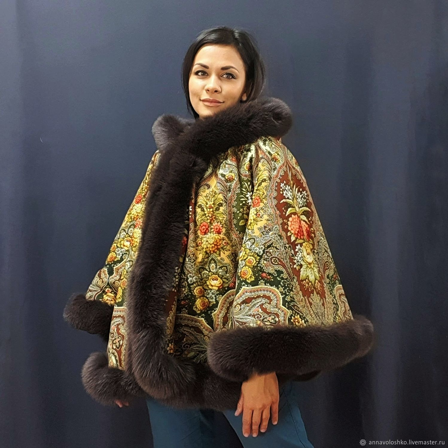 Poncho made of a scarf 'Almond' with a fox, Ponchos, Moscow,  Фото №1