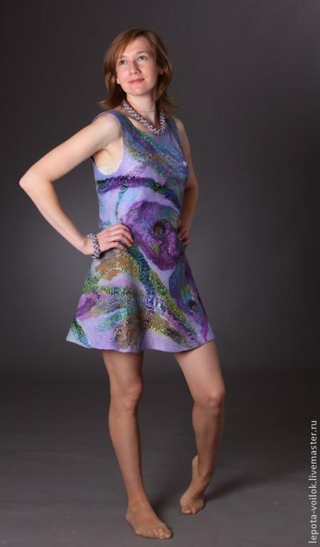 """Платья ручной работы. Ярмарка Мастеров - ручная работа. Купить Платье-сарафан  """"Крыло бабочки"""". Handmade. Сиреневый, сарафан валяный"""