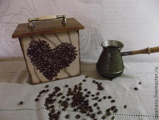 """Корзины, коробы ручной работы. Ярмарка Мастеров - ручная работа. Купить Короб для кофе """" Люблю кофе"""". Handmade. Коричневый"""
