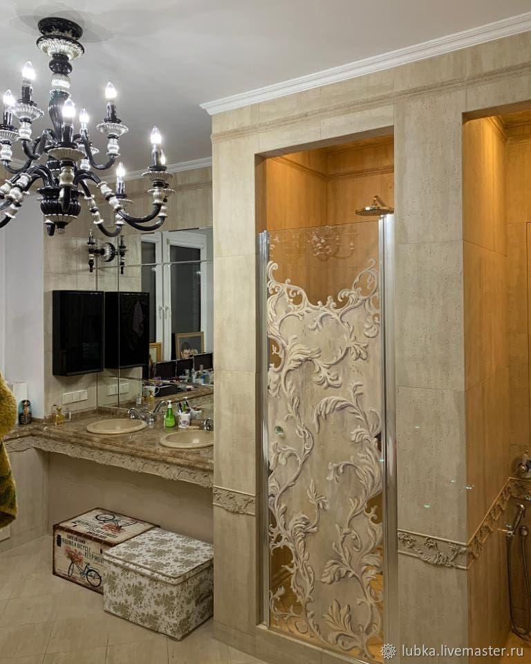 Роспись стеклянной двери в душевой, Декор, Москва,  Фото №1