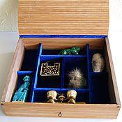 """Упаковка ручной работы. Ярмарка Мастеров - ручная работа короб """"Для коллекций"""" бамбук с синим бархатом. Handmade."""