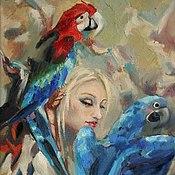 """Картины ручной работы. Ярмарка Мастеров - ручная работа Картина маслом """"девушка и попугаи"""". Handmade."""