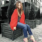 Одежда handmade. Livemaster - original item Bright red cardigan women`s. Handmade.