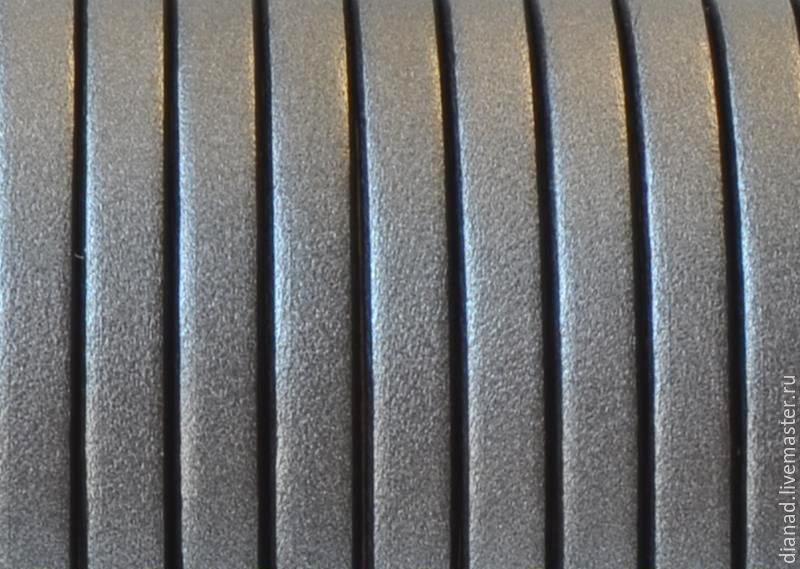 Кожаный шнур 5х2мм серый перламутровый. Испания, Для украшений, Москва, Фото №1
