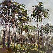Картины и панно handmade. Livemaster - original item Spring forest Original landscape painting 80 x 80 cm. Handmade.