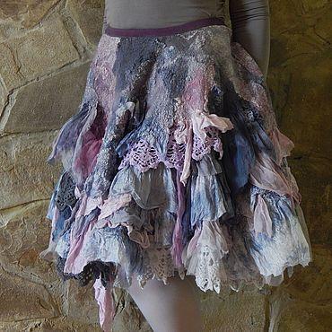 """Одежда ручной работы. Ярмарка Мастеров - ручная работа Валяная юбка с кружевом """"Прекрасная незнакомка"""" (нуно-войлок). Handmade."""