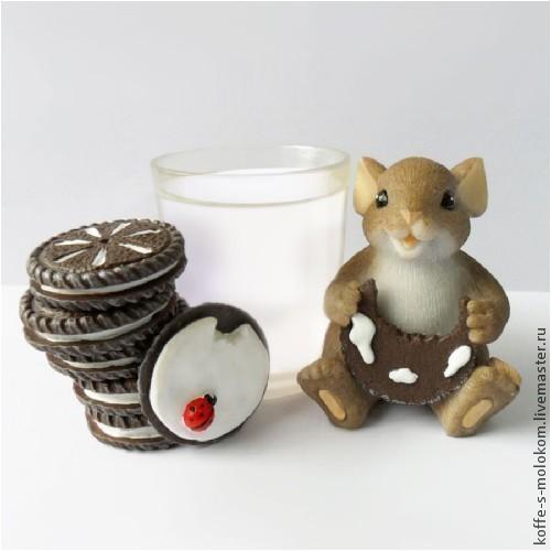 Материалы для косметики ручной работы. Ярмарка Мастеров - ручная работа. Купить Силиконовая форма для мыла Мышка с печенькой. Handmade.