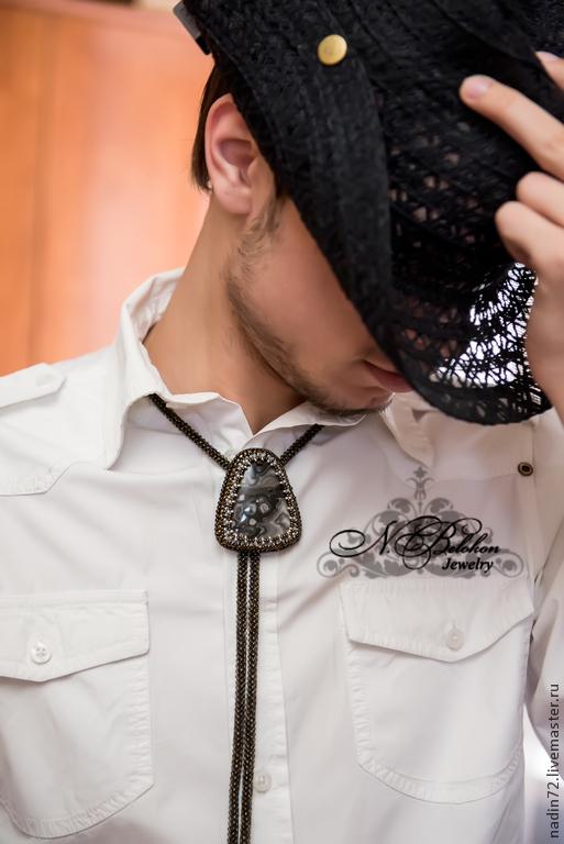 Украшения для мужчин, ручной работы. Ярмарка Мастеров - ручная работа. Купить Галстук Боло в стиле унисекс.. Handmade. Коричневый, галстук