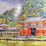 Картины и панно handmade. Livemaster - original item Ceramic mural Pagoda. Handmade.