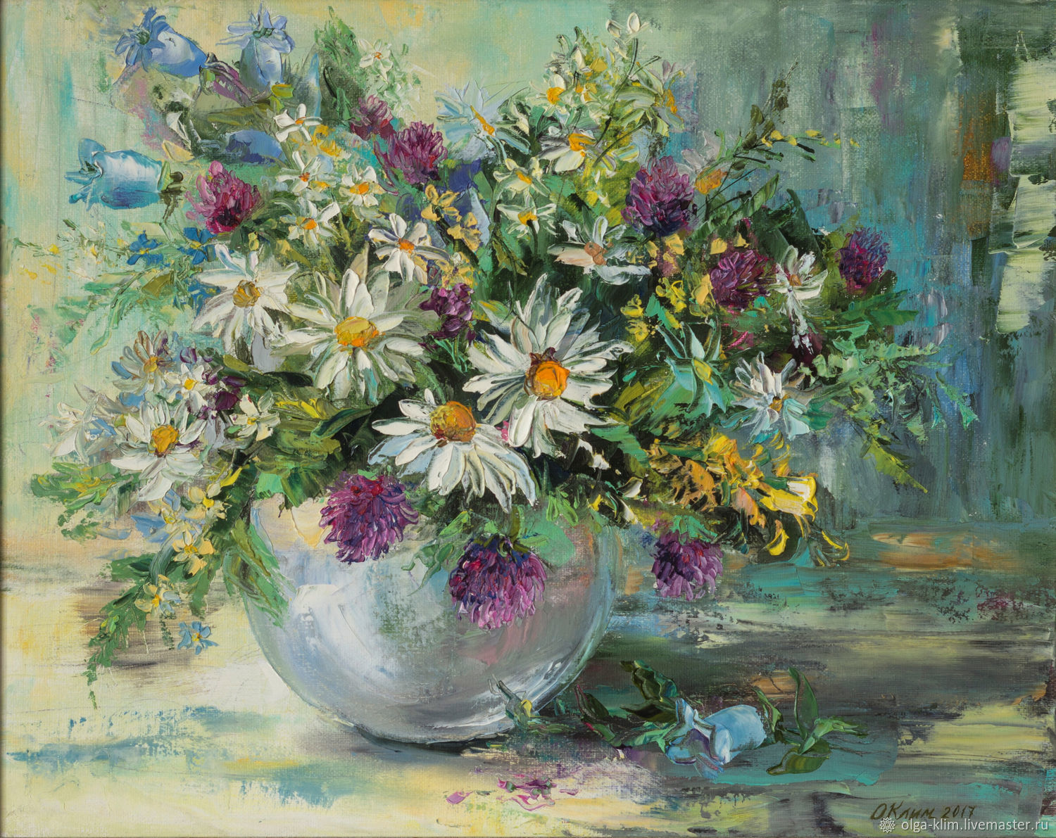 Painting Bouquet of wild flowers Daisies in a vase oil canvas Field bouquet, Pictures, Ekaterinburg,  Фото №1