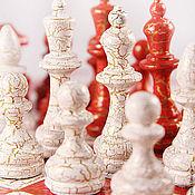 Сувениры и подарки ручной работы. Ярмарка Мастеров - ручная работа шахматы классические Красно-белые кракелюр. Handmade.