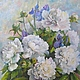 Flower Paintings handmade. Livemaster - handmade. Buy White peonies and irises Painting is oil on canvas 40 на50cm.