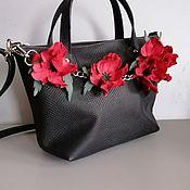 Сумки и аксессуары handmade. Livemaster - original item Bag leather women`s Bag with flowers. Maki blue python. Handmade.