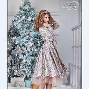 Платье миди с фатином сиреневый хлопок сатин премиум Германия