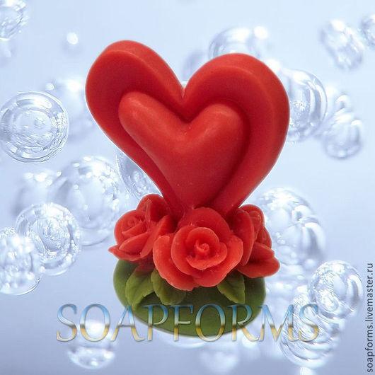"""Силиконовая форма для мыла """"Сердце на розах"""" 3D"""