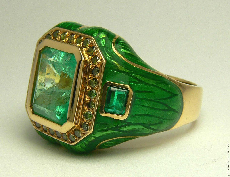 Colombian Emerald Amp Diamond Enamel Ring 14k Shop Online