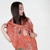 Аксессуары handmade. Livemaster - original item Scarf stole with tassels felted with colored decor orange chestnut. Handmade.
