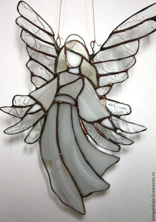 Элементы интерьера ручной работы. Ярмарка Мастеров - ручная работа. Купить Подвеска Белый ангел. Handmade. Белый, стекло
