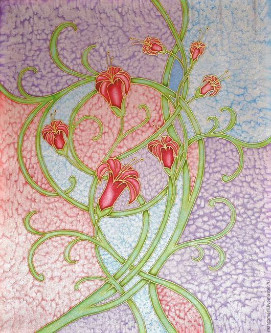 Картины цветов ручной работы. Ярмарка Мастеров - ручная работа. Купить Нежность 1. Handmade. Комбинированный, Батик, атлас, цветы