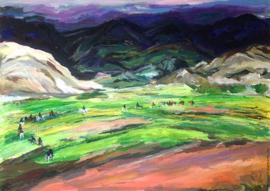 Пейзаж ручной работы. Ярмарка Мастеров - ручная работа. Купить Перевал. Handmade. Комбинированный, горы, горный пейзаж, пейзаж недорого