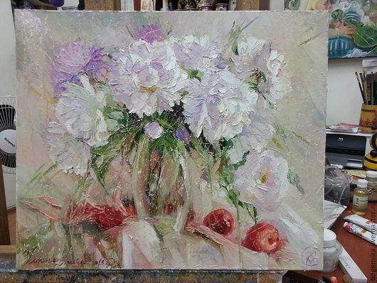 Картины цветов ручной работы. Ярмарка Мастеров - ручная работа. Купить Пионы. Handmade. Бледно-сиреневый, цветы, весна, яблочки