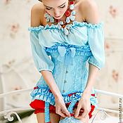 Одежда ручной работы. Ярмарка Мастеров - ручная работа Корсет бирюзовый Колибри кружево натуральный шелк. Handmade.