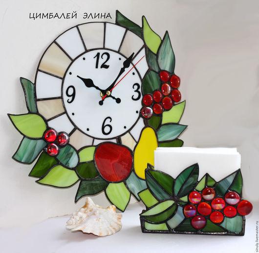 """Часы для дома ручной работы. Ярмарка Мастеров - ручная работа. Купить Комплект """"Фруктовый"""" .Часы и салфетница.. Handmade. Комбинированный, виноград"""