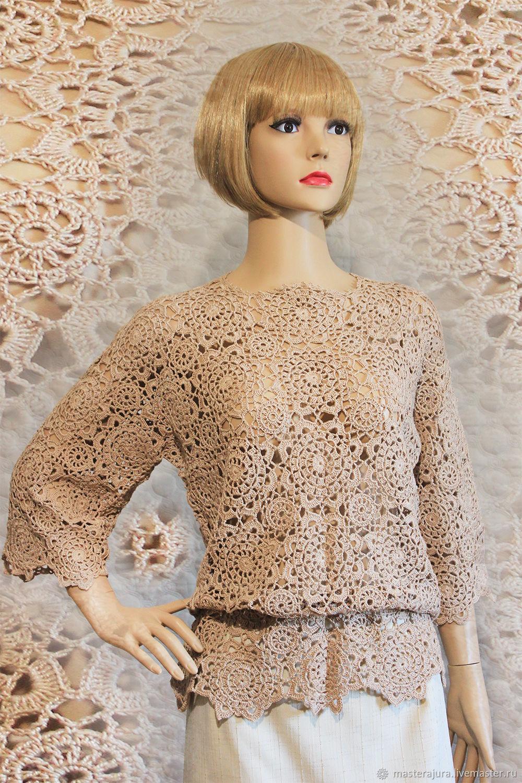 Knitted blouse crochet from motifs, openwork cotton, handmade.