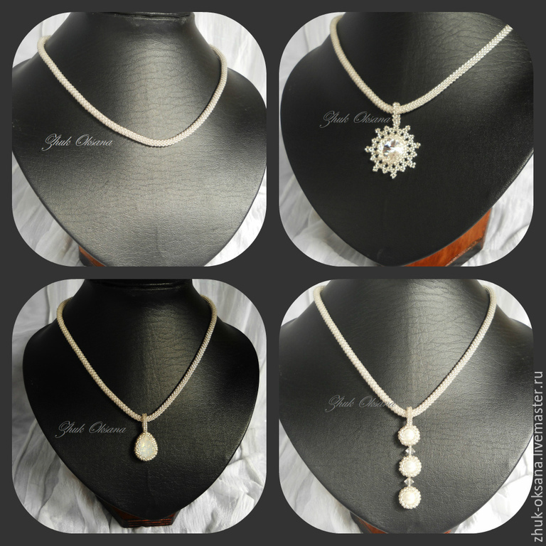 with pendant harness knitted beaded with swarovski pendants and pearls `frost`