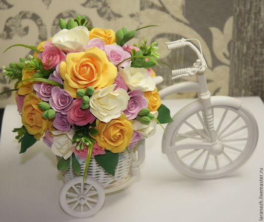 Букеты ручной работы. Ярмарка Мастеров - ручная работа. Купить Весенний велосипед. Handmade. Желтый, цветочная композиция, подарок