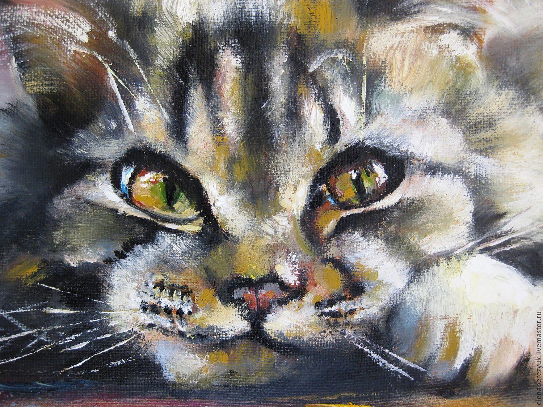 Oil Animal Painting Handmade On Canvas Cat ElenaBerezyukArt My LivemasterOil
