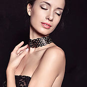 Chokers handmade. Livemaster - original item leather necklace-choker black lace. Handmade.