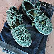 """Обувь ручной работы. Ярмарка Мастеров - ручная работа Вязаные сандали  """"Изумруды"""". Handmade."""
