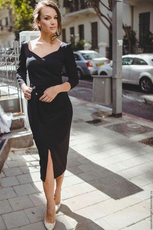 Платья ручной работы. Ярмарка Мастеров - ручная работа. Купить Черное платье-футляр. Handmade. Черный, платье на выпускной