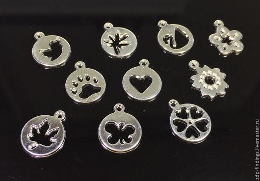 Для украшений ручной работы. Ярмарка Мастеров - ручная работа. Купить 2 цвета Набор из 10 подвесок для браслетов под серебро. Handmade.