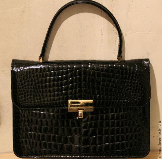 Винтажные сумки и кошельки. Ярмарка Мастеров - ручная работа. Купить Винтажная сумка 50х годов под крокодила. Handmade. Черный