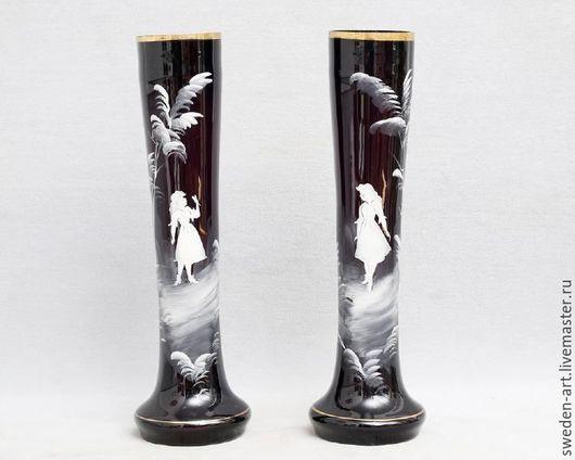 Винтажные предметы интерьера. Ярмарка Мастеров - ручная работа. Купить Mary Gregory-две антикварные  парные вазы 1800 гг. Handmade.
