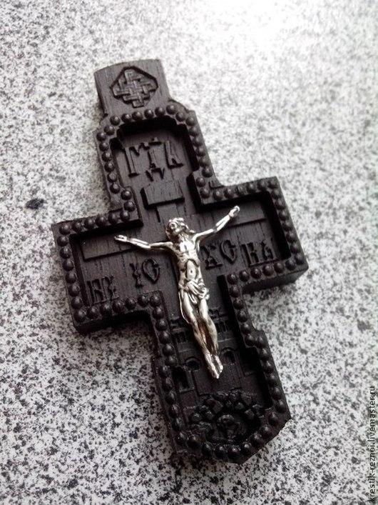 Комплекты аксессуаров ручной работы. Ярмарка Мастеров - ручная работа. Купить Крестик нательный деревянный N0140. Handmade. Черный
