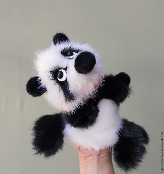 Кукольный театр ручной работы. Ярмарка Мастеров - ручная работа. Купить Крошка панда - бибабо. Игрушка - перчатка для самых маленьких ручек.. Handmade.