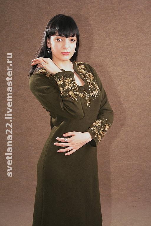 """Платья ручной работы. Ярмарка Мастеров - ручная работа. Купить Вязаное платье""""Золотые листья"""". Handmade. Вязаное платье, трикотажное полотно"""