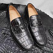 Обувь ручной работы handmade. Livemaster - original item Moccasins men`s crocodile leather, black color.. Handmade.