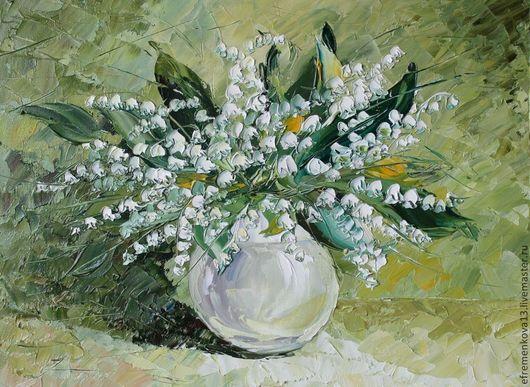 """Картины цветов ручной работы. Ярмарка Мастеров - ручная работа. Купить Картина """"Букетик ландышей"""". Handmade. Белый, картина в подарок"""