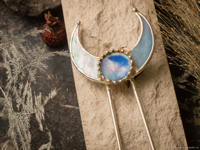 Голубой гребень с серебрением, Заколки, Санкт-Петербург, Фото №1