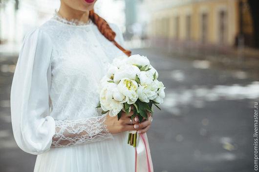 Платья ручной работы. Ярмарка Мастеров - ручная работа. Купить Венчальное платье. Handmade. Белый, платье вязаное, кружево, шифон