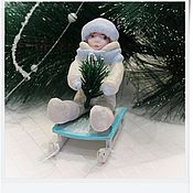 """Подарки к праздникам ручной работы. Ярмарка Мастеров - ручная работа Ватная игрушка """"Мальчик на санках"""". Handmade."""
