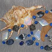 "Jewelry Sets handmade. Livemaster - original item Бусы длинные ""Морской прибой"" Лазурит Лунный камень Сваровски. Handmade."