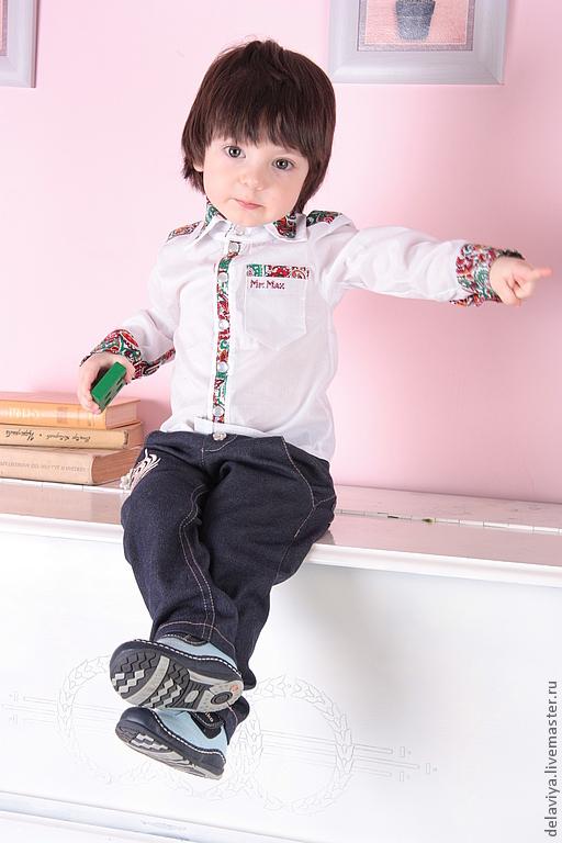 Одежда для мальчиков, ручной работы. Ярмарка Мастеров - ручная работа. Купить Рубашка casual для мальчика Mr.  Max. Handmade. Белый