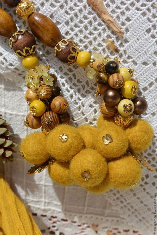 """Колье, бусы ручной работы. Ярмарка Мастеров - ручная работа. Купить Бусы """"Осень золотая"""". Handmade. Желтый, золотистый цвет"""