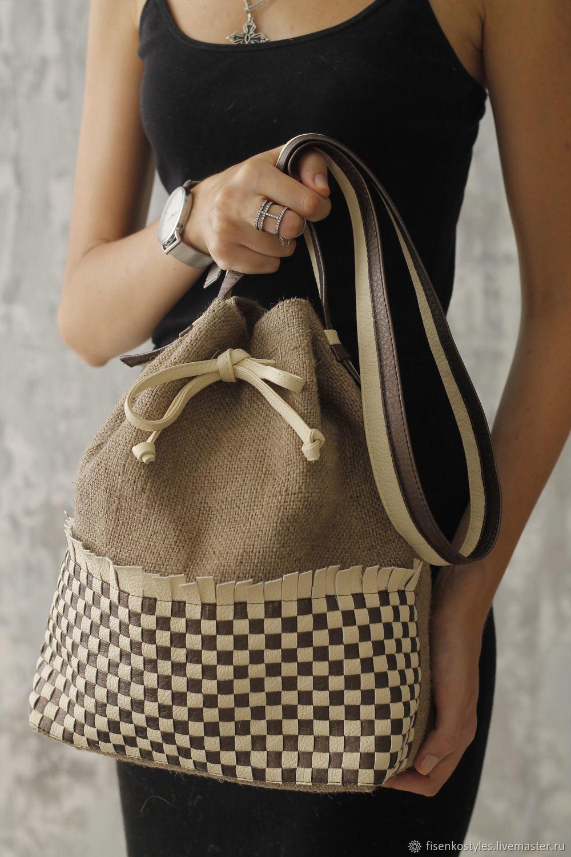Эко-сумка из джутовой ткани с плетением ручной работы_Fisenko brand